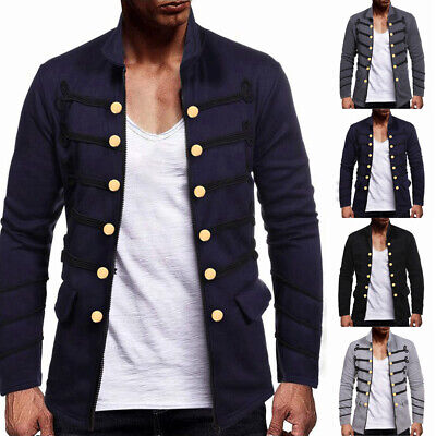 Mens Military Steampunk Jacket Victorian Gothic Coat Uniform Cosplay Costume • 13.18£