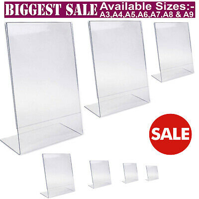 £11.95 • Buy Acrylic Counter Poster Holder Perspex Leaflet Display Stand A3 A4 A5 A6 A7 A8 A9