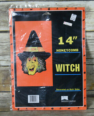 $ CDN19.08 • Buy Vtg NOS Honeycomb Witch Die Cut Halloween Decoration 14