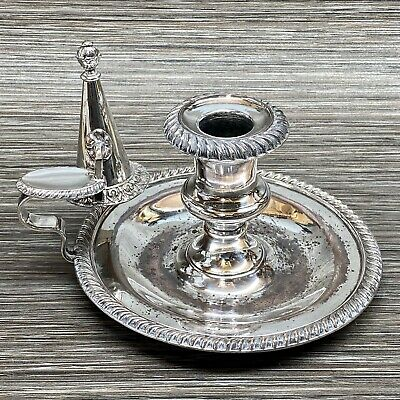 Antique Silver Plated Candle Stick Holder & Wick Snuffer - Note Wear To S/plate • 28£