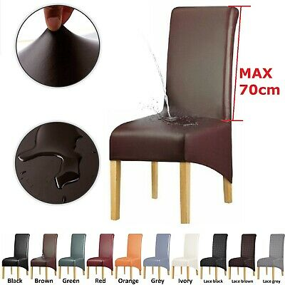 AU65.99 • Buy Dinning Chair Cover High Back PU Leather Slipcover Removable Waterproof Stretch
