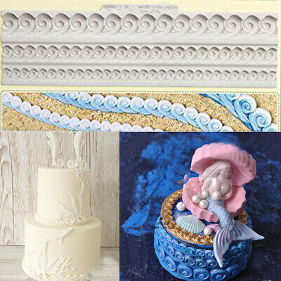 £3.25 • Buy Relief Wave Silicone Fondant Mould Cake Border Decorating Craft Embosser Mold 3D