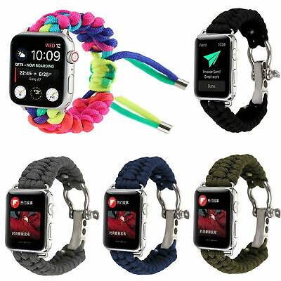 AU13.99 • Buy Nylon Parachute Rope Watch Strap Band For Apple Watch Series 6 5 4 3 2 1 SE