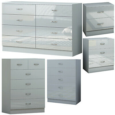 £89 • Buy Grey Gloss Bedroom Furniture 2/3/5/6/8 Drawer Chest Of Drawers/ Bedside Cabinet