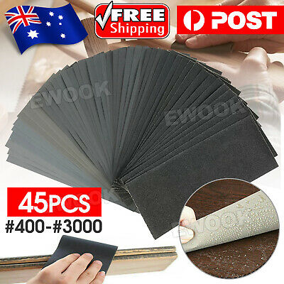 AU9.85 • Buy 45PCS Sandpaper Mixed Wet And Dry Waterproof 400-3000 Grit Sheets Assorted Wood