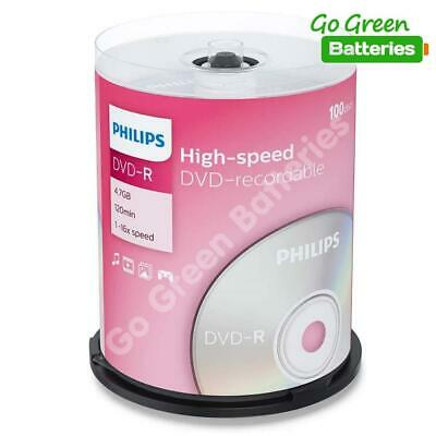 £19.99 • Buy Philips DVD-R Blank Recordable Discs 4.7GB 120 Mins 1-16x Speed Spindle 100 Pack