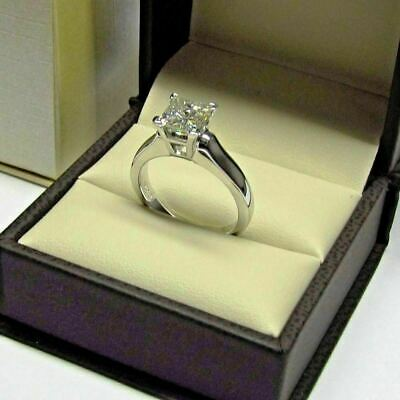 1.50CT Princess-Cut D/VVS1 Diamond Solitaire Engagement Ring 14k White Gold Over • 75.60£