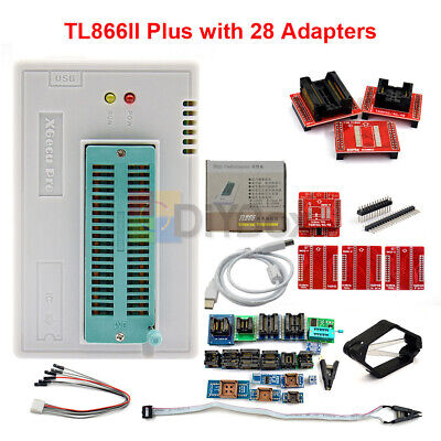 TL866II Plus Programmer TL866 Nand Flash AVR PIC Bios USB Programmer + Adapter • 37.95£