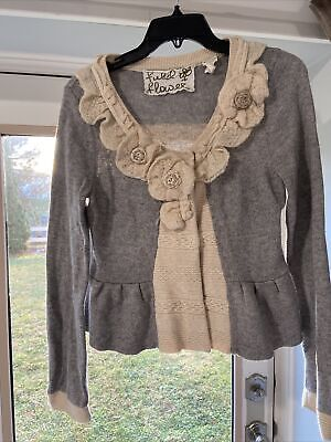 $ CDN25.25 • Buy Cartonnier Anthropologie Size M Ruffled Wool Cardigan Sweater Floral Buttons