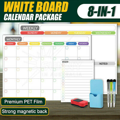 AU26.27 • Buy A3 Magnetic Dry Erase Calendar Fridge Whiteboard Monthly Weekly Daily Planner