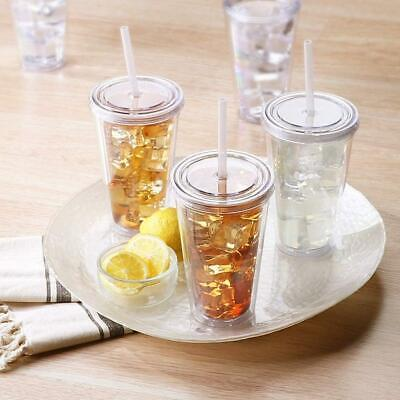 DIY Double Walled Cup Plastic Clear With Lid And Straw 500ml Drinks Insulated NE • 5.42£