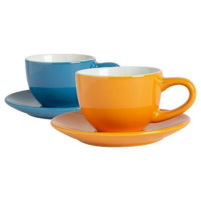 £13.99 • Buy 12 Piece Espresso Cup & Saucer Set Porcelain Coffee Cafe Cups 90ml Blue/Yellow