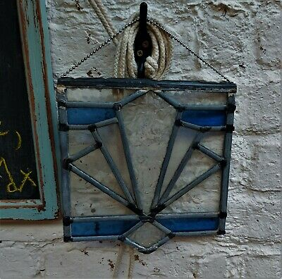 Small Vintage Leaded Stained Glass Window Panel, Art Deco Period. • 27£