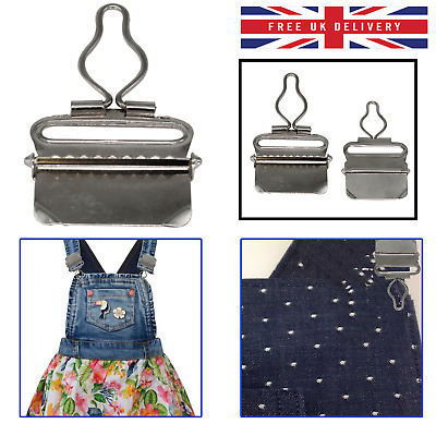 £2.45 • Buy Silver Dungaree Buckles Metal Clips 38mm For Braces Suspenders Belts Crafts 2pcs