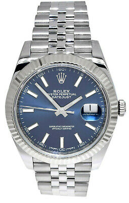$ CDN15091.66 • Buy Rolex Datejust 41 Steel & 18k White Gold Blue Dial Watch & Box Papers 126334