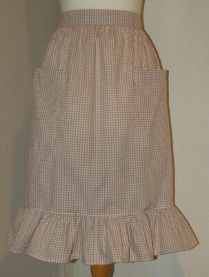 £8.50 • Buy Frilly 'Toffee 3mm Gingham' Vintage Style Half / Waist Apron/Pinny