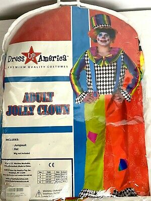 $19.99 • Buy Adult Jolly Clown Costume Includes Jumpsuit And Hat Size Small Halloween Party