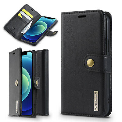 AU32.99 • Buy IPhone 12 Pro Wallet Case Real Leather Card Slot, Magnetic Flip Cover For Apple