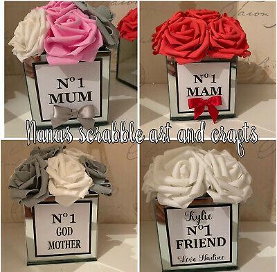 No1 Mum Mothers Day Flower Filled Mirror Vase With Roses. Mother's Day Gift. • 20£