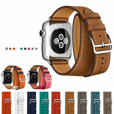 AU12.99 • Buy Leather Watch Band Belt Single/Double Tour For Apple Watch Series 6 5 4 3 2 1 SE