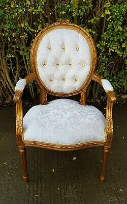 French Louis Gold Gilt Style Bedroom Chair With Ivory Velvet Fabric • 95£