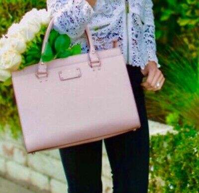 $ CDN110.95 • Buy KATE SPADE Wellesley Durham LEATHER Satchel Purse AUTHENTIC Pink Long Strap