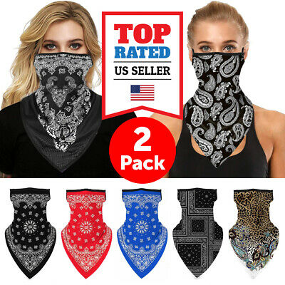 $9.99 • Buy 2 Pcs Bandana Paisley Pattern Face Cover W/Ear Loop Mask Neck Gaiter Washable