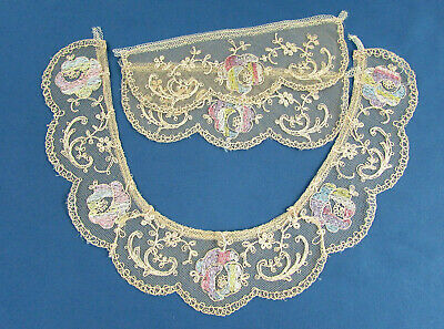 Vintage Embroidered Net Lace Collar And Cuffs  - Ivory With Pastel Flowers  • 9.66£