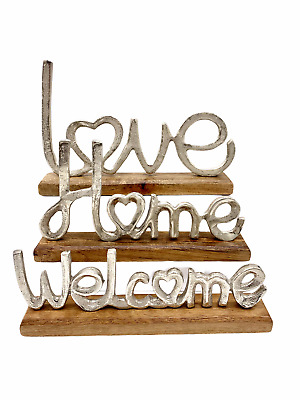 Wooden Home Love Welcome Sign Living Room Bedroom Home Decoration Ornament • 16.99£