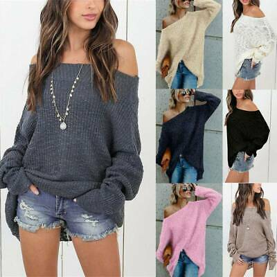 UK Womens Winter Off The Shoulder Knit Jumper Travel Casual Sweater Tops Plus SZ • 18.39£