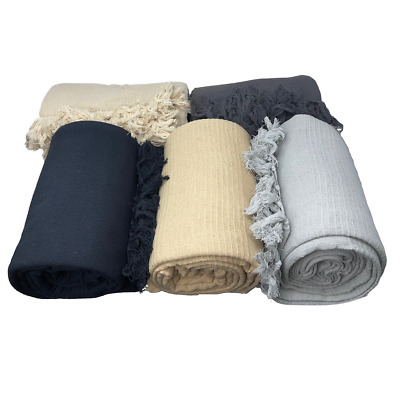 £14.99 • Buy 100% Cotton Ribbed Sofa Bed Throw Over