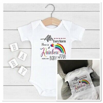 Personalised Unisex Vest After Every Storm Rainbow Of Hope Here Baby  Gift • 7.99£