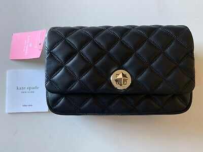 $ CDN126.95 • Buy NEW Kate Spade Natalia WLRU6342 Flap Turnlock Leather Crossbody Purse BLACK $249