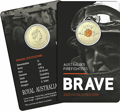 AU19 • Buy 2020 Australia's Fire Fighter $2 Dollar Coloured Coin In Mint Card