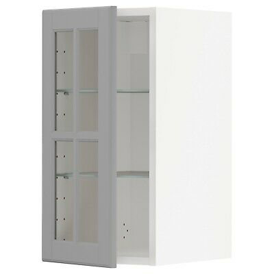 IKEA METOD Wall Cabinet W Shelves/glass Door, White/Bodbyn Grey 40x60 Cm • 35£