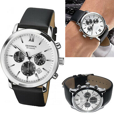 Sekonda Mens Gents Watch Chronograph Silver Case & Dial With Black Leather Strap • 44.95£