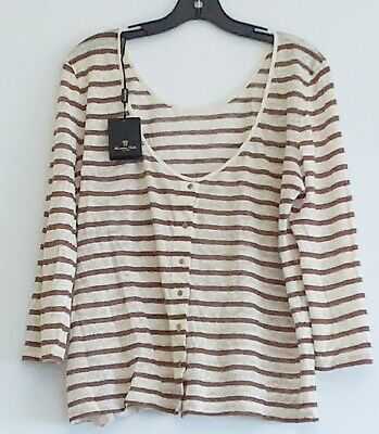 AU39 • Buy Massimo Dutti Sz L 34 Striped Linen Button Top NWT Classic Relaxed