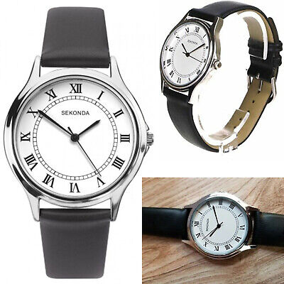 Sekonda Mens Gents Watch Black Leather Strap & White Dial With Roman Numerals • 22.95£