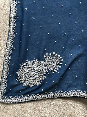 £35 • Buy Brand New Navy Blue/ Silver Design Sari With Blouse Piece And Stitched Fall