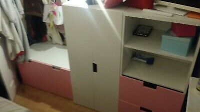 Childrens Ikea Bedroom 3 Pc Set Wardrobe Toy Chest And Drawers/unit White/pink • 72£