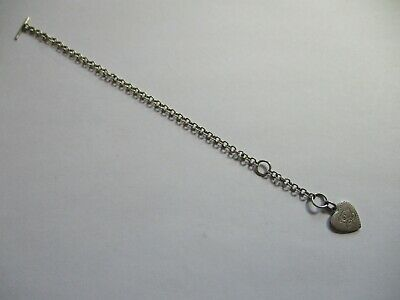 Valentine's Silver 925 Care Bear Heart Bracelet T-bar Chain  • 15£