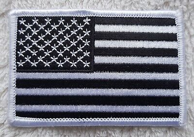 UNITED STATES OF AMERICA FLAG PATCH Black & White Embroidered Badge 3  X 2  USA • 2.99£