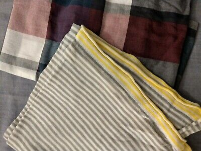Two Scarves Boden Gap Grey Stripe Navy Check • 7£