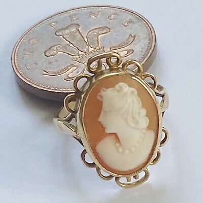 £85 • Buy Vintage 9ct Gold Hand Carved Shell Cameo Portrait Size N 4.31g