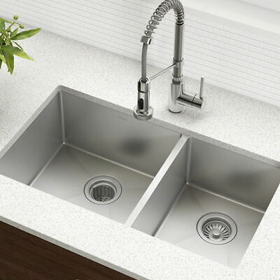 Large Double Bowl Kitchen Sink Stainless Steel Drainer Handmade Sink • 143.32£