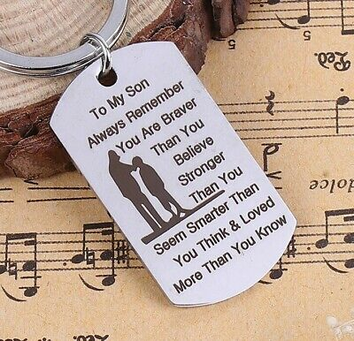 £3.35 • Buy Stainless Steel To My Son~ Love~Brave~Strong~Key Ring~Birthday~Memorial()