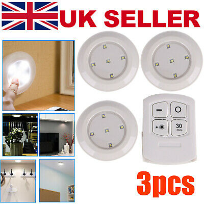 3pc Wireless Remote Control LED SMD Lights Battery Operated Under Cabinet • 7.49£