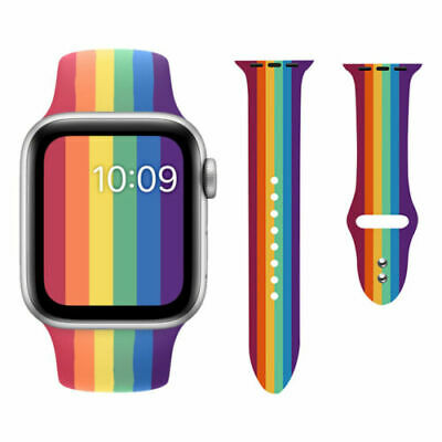 AU9.99 • Buy Rainbow Watch Band Silicone Soft Strap For Apple Watch Series 6 5 4 3 2 1 SE