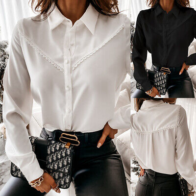 Womens Lace Work OL Lapel Button Shirt Tops Ladies Long Sleeve Office Blouse UK • 14.15£