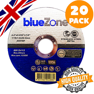 £8.99 • Buy 20 X ULTRA THIN METAL CUTTING SLITTING DISCS 115mm 4.5 INCH FOR ANGLE GRINDER
